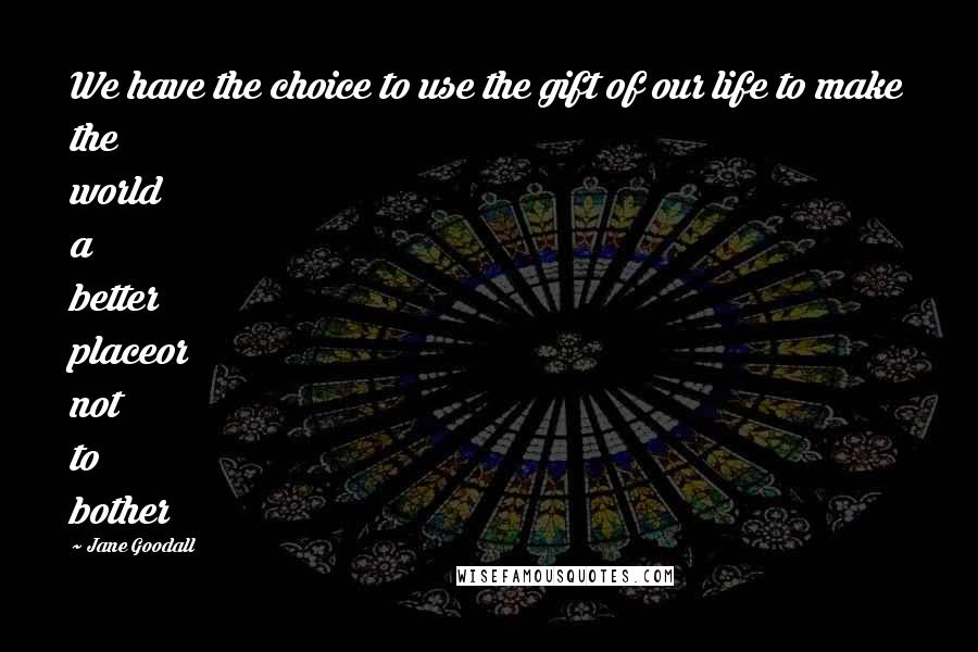 Jane Goodall quotes: We have the choice to use the gift of our life to make the world a better placeor not to bother