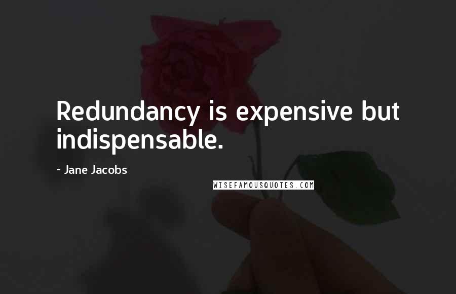 Jane Jacobs quotes: Redundancy is expensive but indispensable.