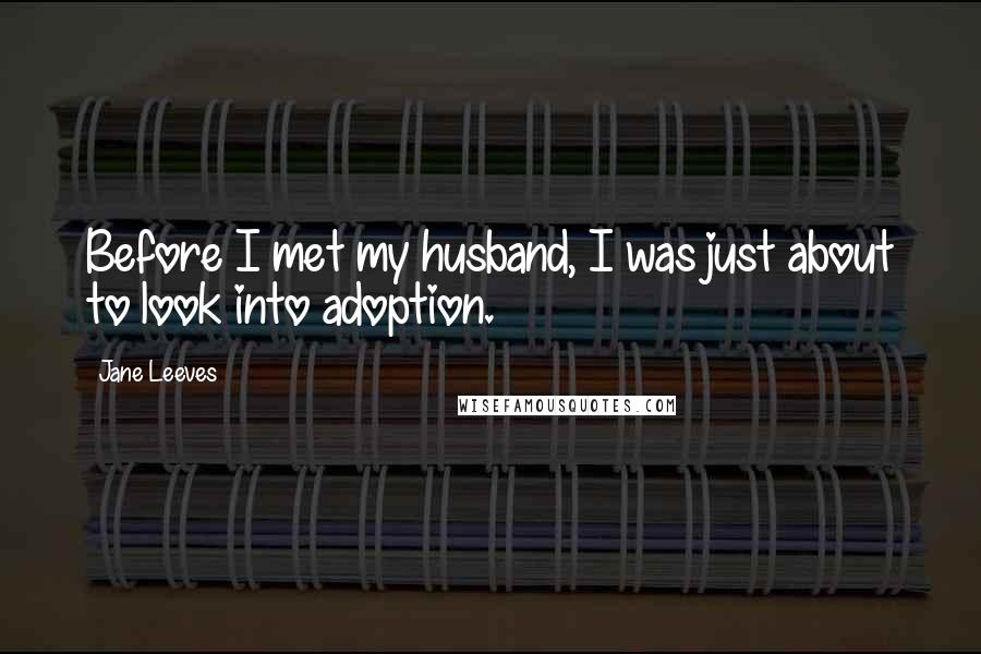 Jane Leeves quotes: Before I met my husband, I was just about to look into adoption.