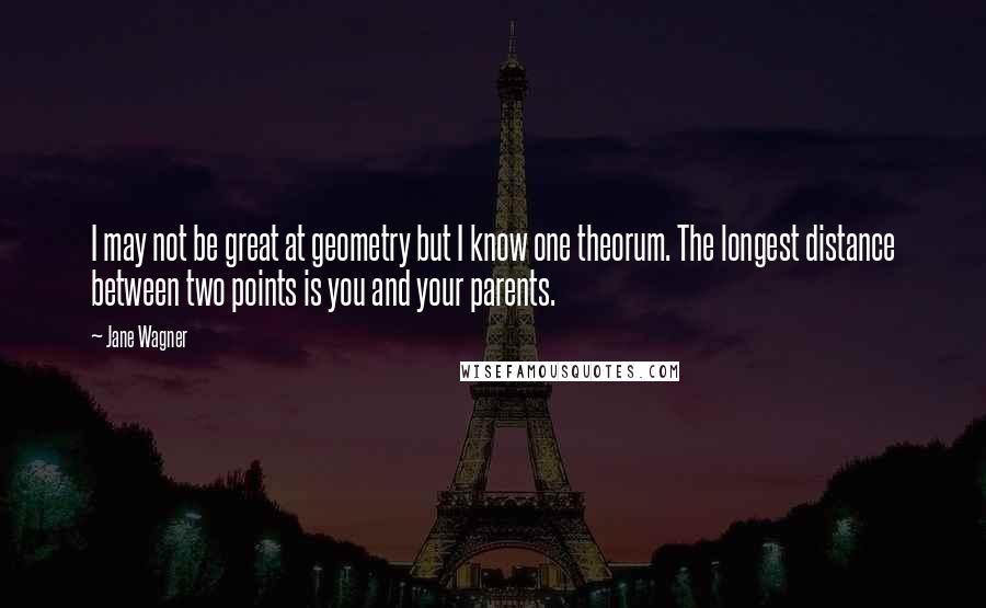 Jane Wagner quotes: I may not be great at geometry but I know one theorum. The longest distance between two points is you and your parents.