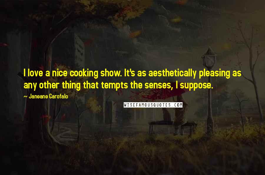 Janeane Garofalo quotes: I love a nice cooking show. It's as aesthetically pleasing as any other thing that tempts the senses, I suppose.