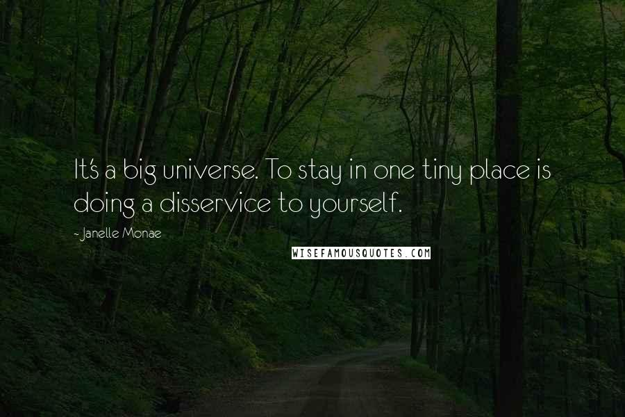 Janelle Monae quotes: It's a big universe. To stay in one tiny place is doing a disservice to yourself.