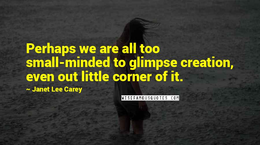 Janet Lee Carey quotes: Perhaps we are all too small-minded to glimpse creation, even out little corner of it.
