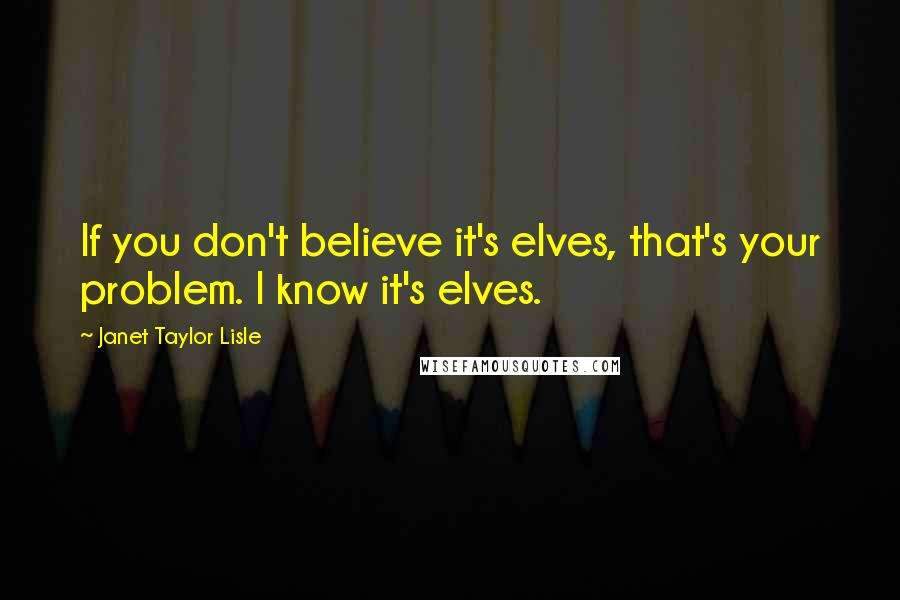Janet Taylor Lisle quotes: If you don't believe it's elves, that's your problem. I know it's elves.