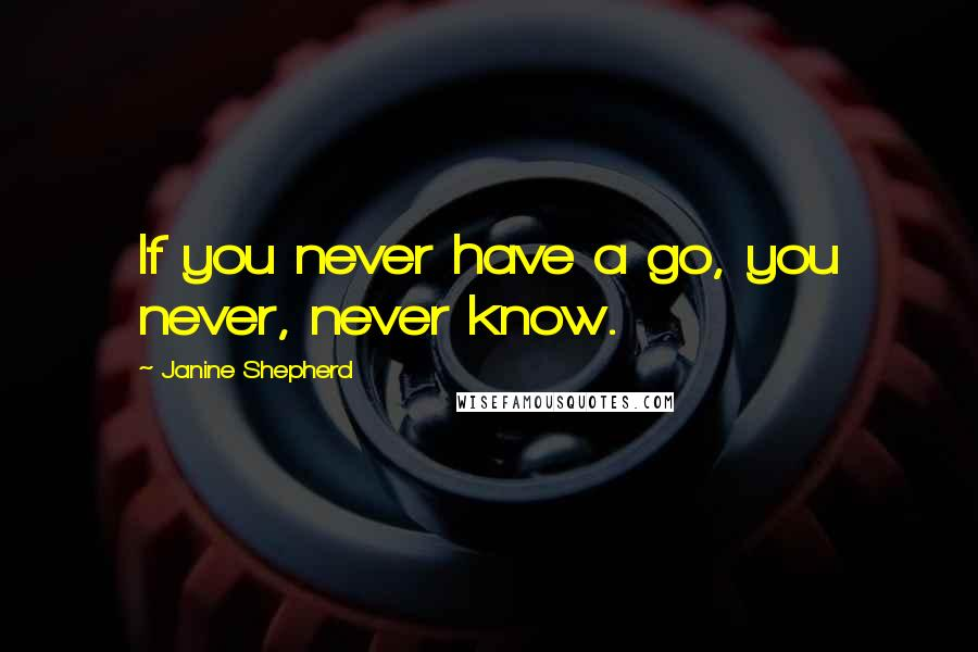 Janine Shepherd quotes: If you never have a go, you never, never know.