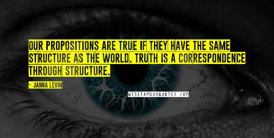 Janna Levin quotes: Our propositions are true if they have the same structure as the world. Truth is a correspondence through structure.