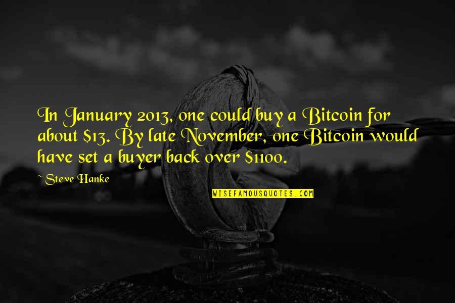 January 13 Quotes By Steve Hanke: In January 2013, one could buy a Bitcoin