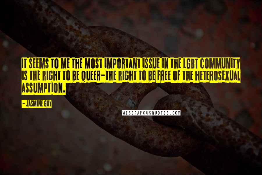Jasmine Guy quotes: It seems to me the most important issue in the LGBT community is the right to be queer-the right to be free of the heterosexual assumption.
