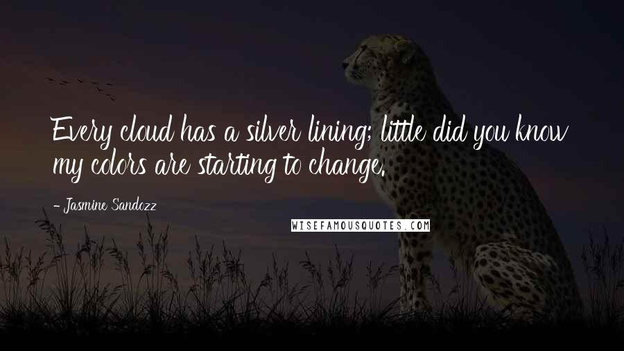 Jasmine Sandozz quotes: Every cloud has a silver lining; little did you know my colors are starting to change.