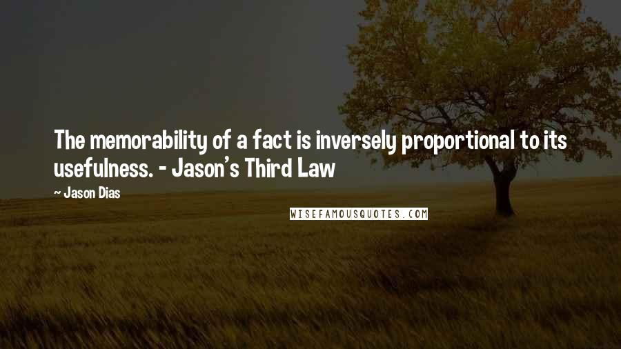 Jason Dias quotes: The memorability of a fact is inversely proportional to its usefulness. - Jason's Third Law