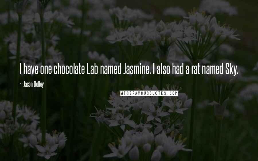 Jason Dolley quotes: I have one chocolate Lab named Jasmine. I also had a rat named Sky.