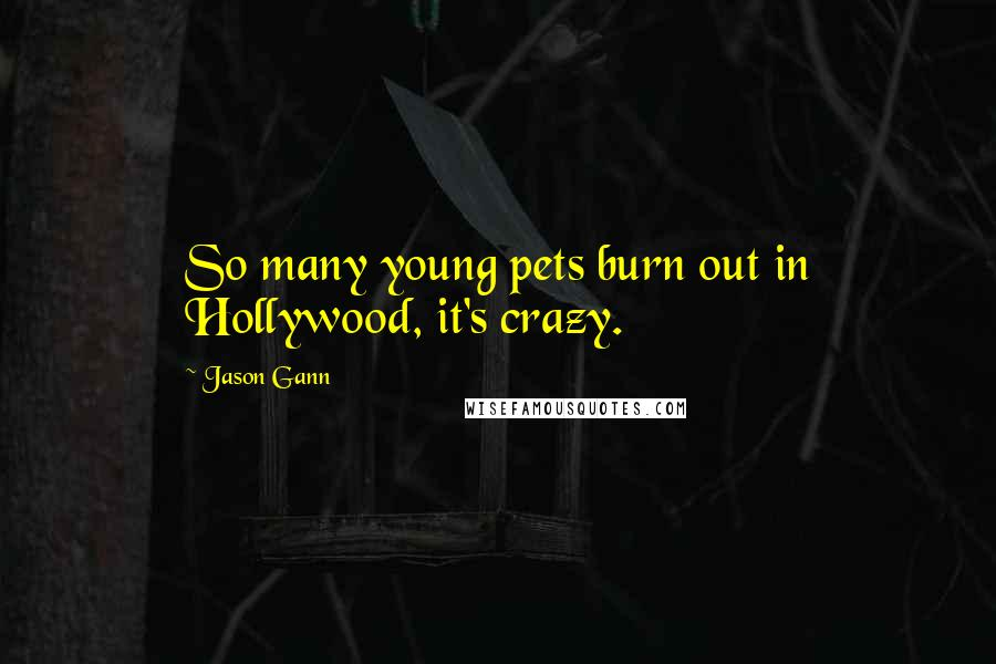 Jason Gann quotes: So many young pets burn out in Hollywood, it's crazy.