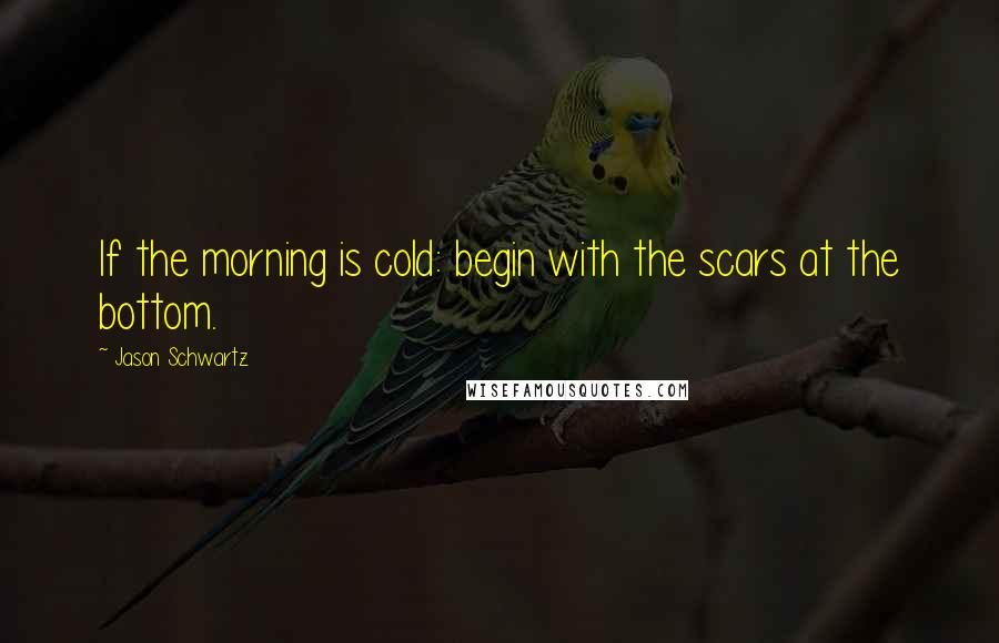 Jason Schwartz quotes: If the morning is cold: begin with the scars at the bottom.