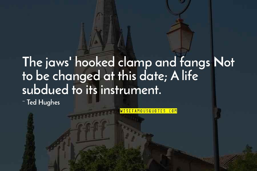 Jaws Quotes By Ted Hughes: The jaws' hooked clamp and fangs Not to