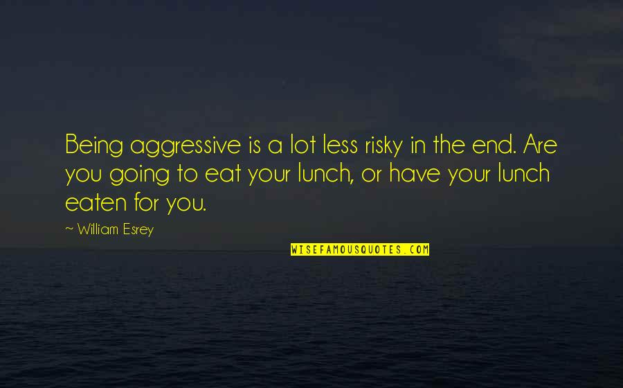 Jay Farrar Quotes By William Esrey: Being aggressive is a lot less risky in