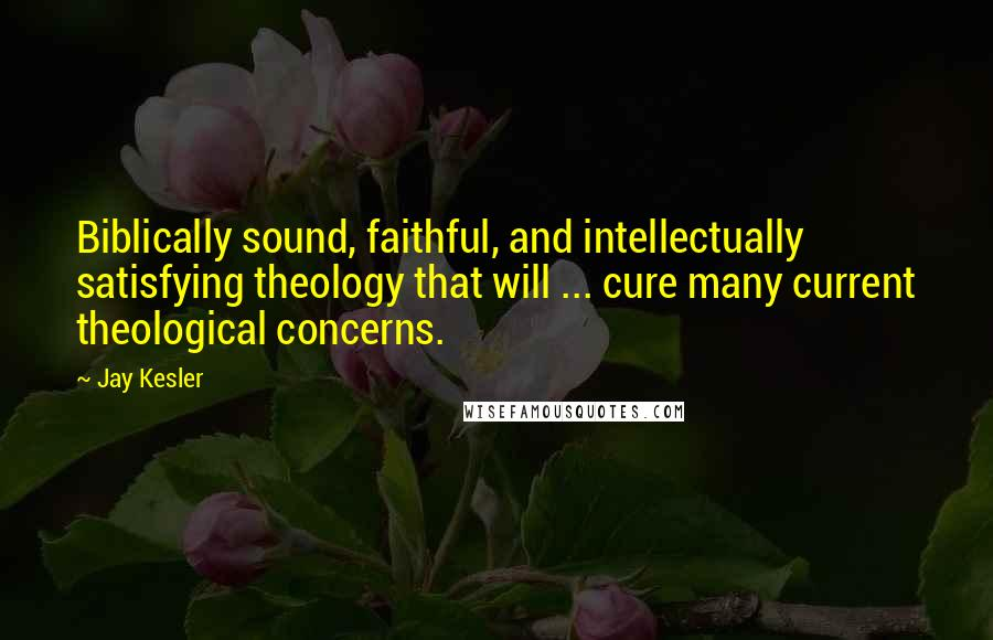 Jay Kesler quotes: Biblically sound, faithful, and intellectually satisfying theology that will ... cure many current theological concerns.