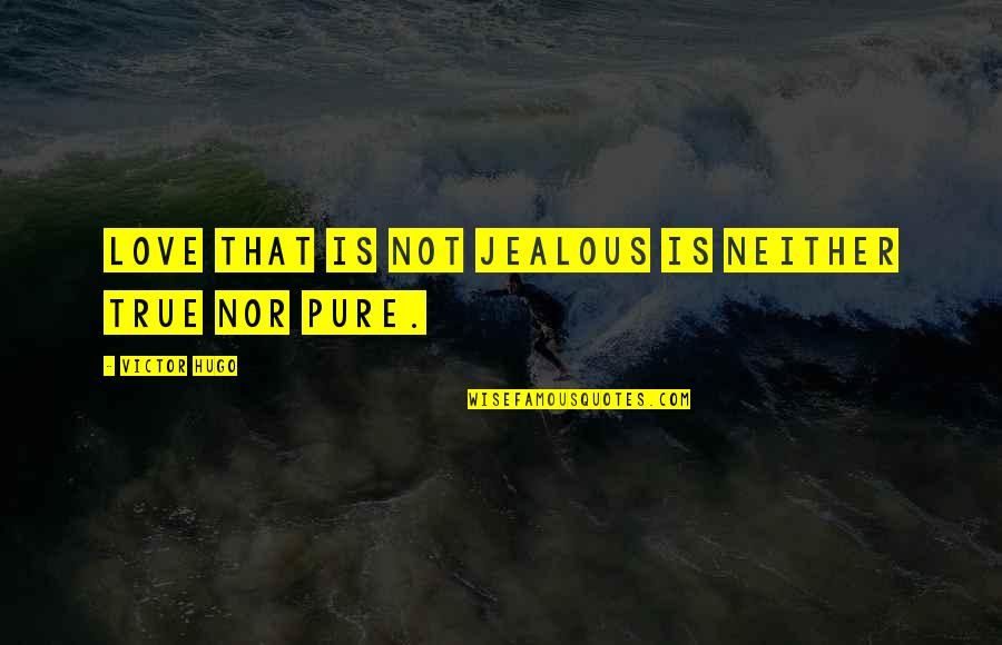 Jealous Of Our Love Quotes By Victor Hugo: Love that is not jealous is neither true