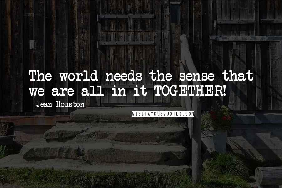 Jean Houston quotes: The world needs the sense that we are all in it TOGETHER!