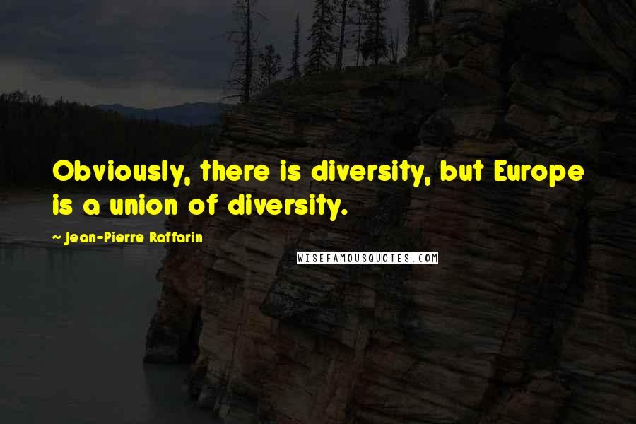 Jean-Pierre Raffarin quotes: Obviously, there is diversity, but Europe is a union of diversity.