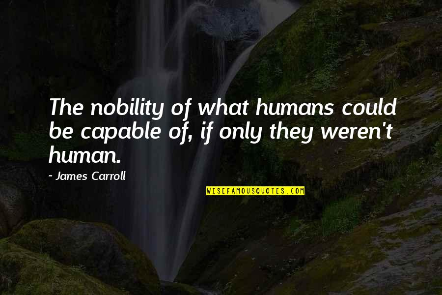 Jeanann Verlee Quotes By James Carroll: The nobility of what humans could be capable