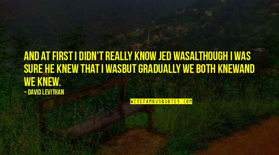 Jed's Quotes By David Levithan: And at first i didn't really know jed