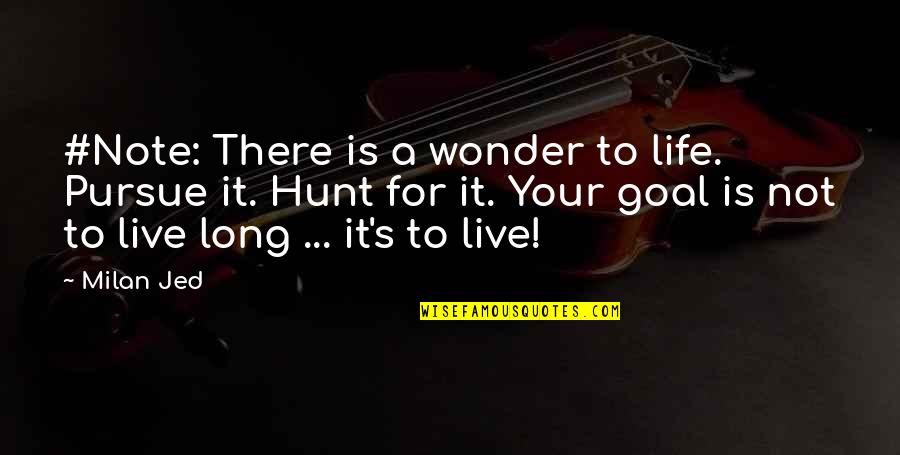 Jed's Quotes By Milan Jed: #Note: There is a wonder to life. Pursue