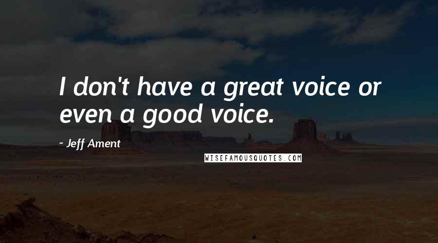 Jeff Ament quotes: I don't have a great voice or even a good voice.