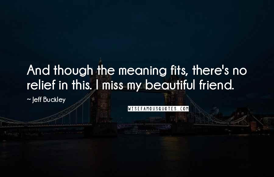 Jeff Buckley quotes: And though the meaning fits, there's no relief in this. I miss my beautiful friend.
