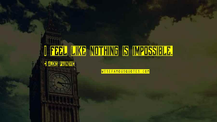 Jeff Foster Spiritual Quotes By Aleks Paunovic: I feel like nothing is impossible.