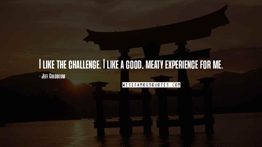 Jeff Goldblum quotes: I like the challenge. I like a good, meaty experience for me.