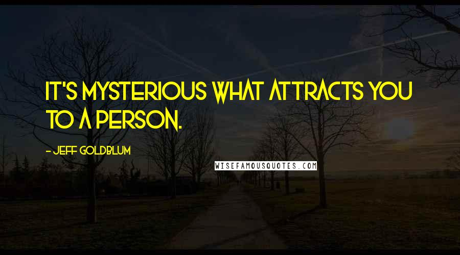 Jeff Goldblum quotes: It's mysterious what attracts you to a person.