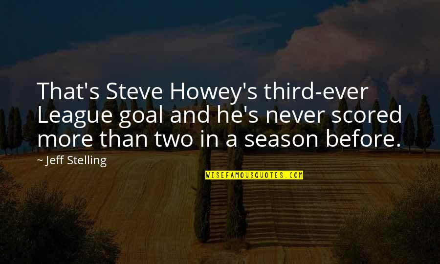 Jeff Quotes By Jeff Stelling: That's Steve Howey's third-ever League goal and he's