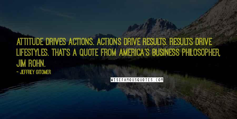 Jeffrey Gitomer quotes: Attitude drives actions. Actions drive results. Results drive lifestyles. That's a quote from America's business philosopher, Jim Rohn.