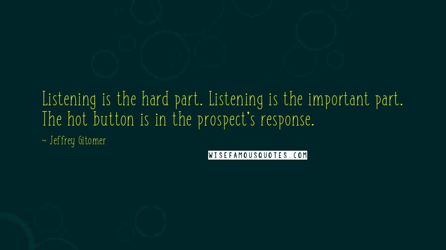 Jeffrey Gitomer quotes: Listening is the hard part. Listening is the important part. The hot button is in the prospect's response.