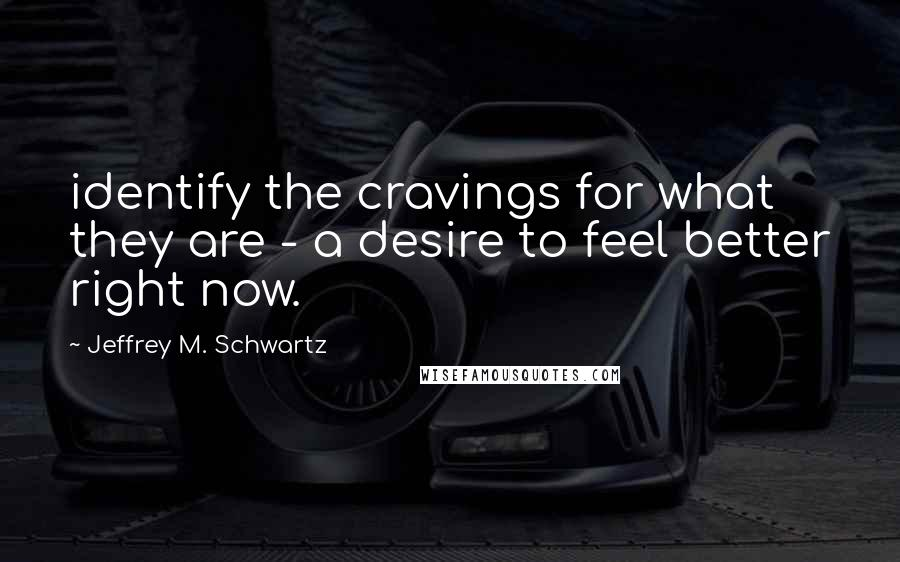 Jeffrey M. Schwartz quotes: identify the cravings for what they are - a desire to feel better right now.