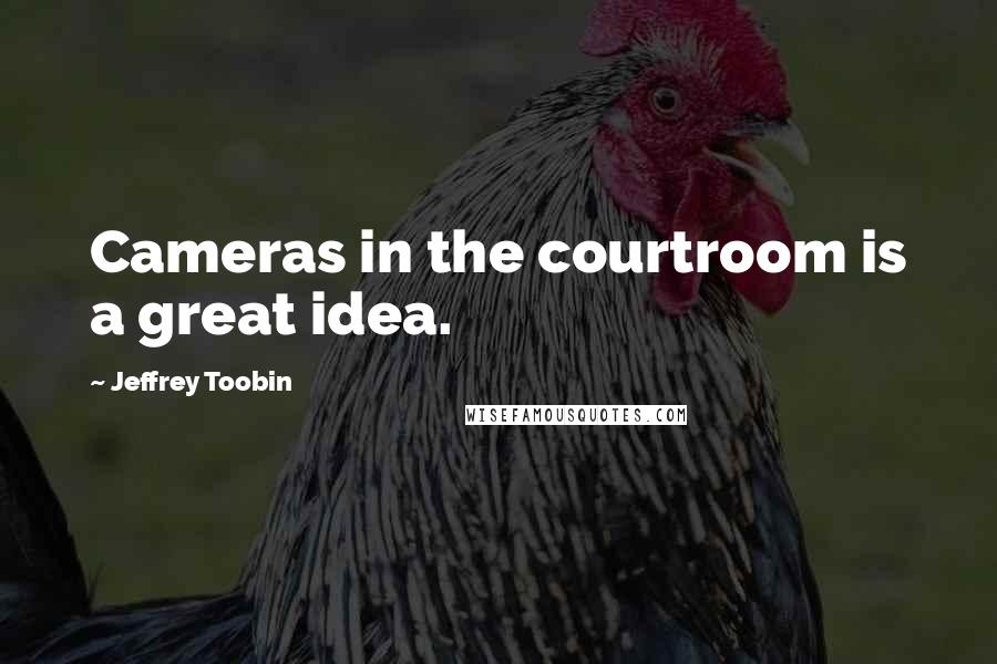 Jeffrey Toobin quotes: Cameras in the courtroom is a great idea.