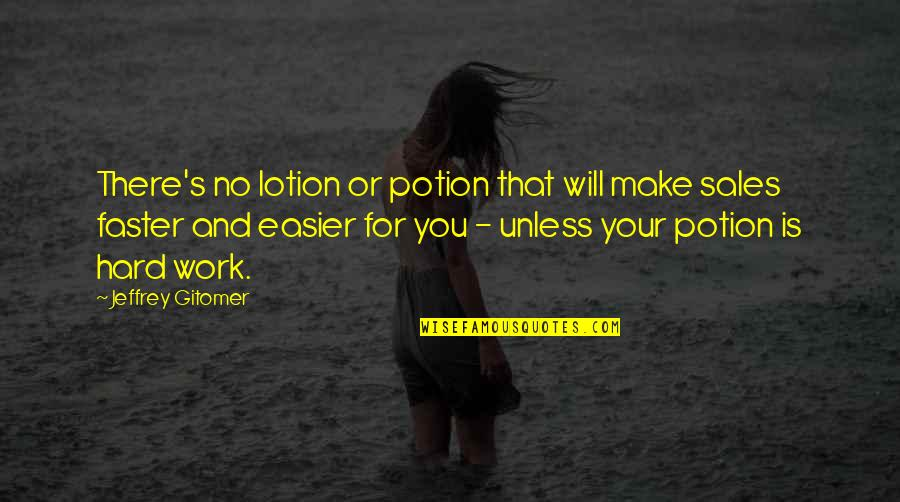 Jeffrey's Quotes By Jeffrey Gitomer: There's no lotion or potion that will make