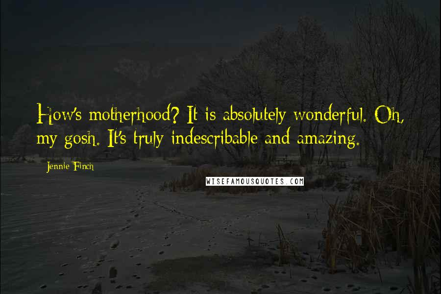 Jennie Finch quotes: How's motherhood? It is absolutely wonderful. Oh, my gosh. It's truly indescribable and amazing.