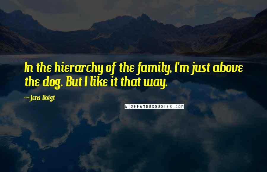 Jens Voigt quotes: In the hierarchy of the family, I'm just above the dog. But I like it that way.