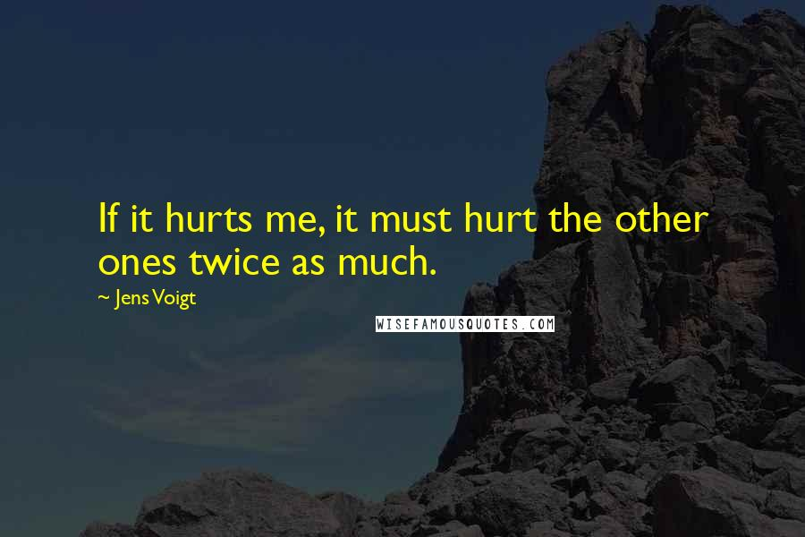 Jens Voigt quotes: If it hurts me, it must hurt the other ones twice as much.
