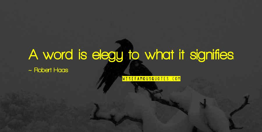 Jephus Quotes By Robert Haas: A word is elegy to what it signifies.