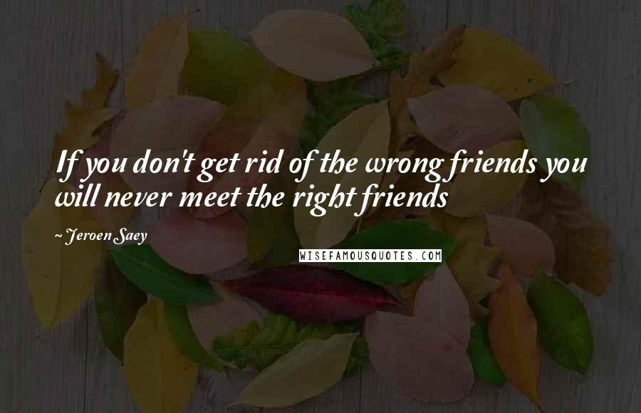 Jeroen Saey quotes: If you don't get rid of the wrong friends you will never meet the right friends