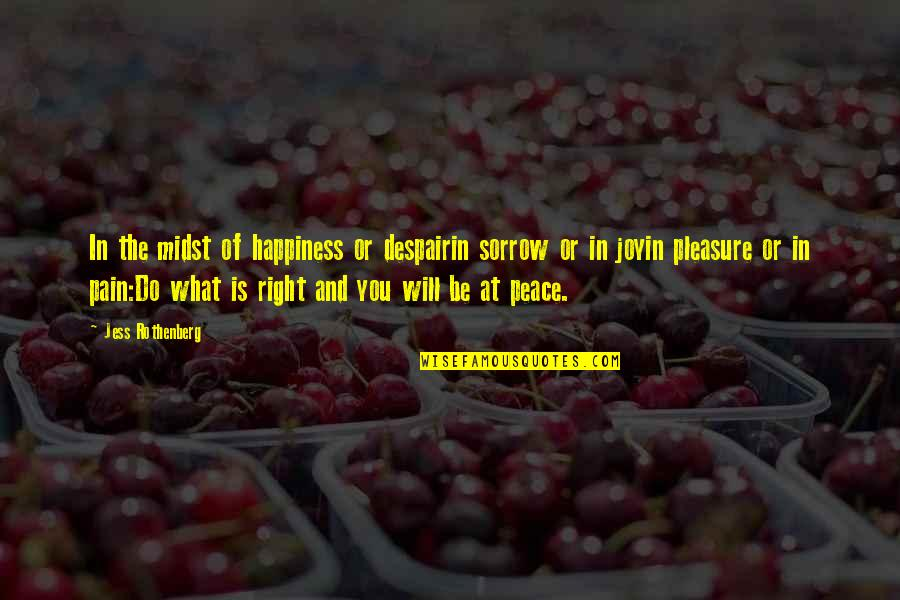 Jess Rothenberg Quotes By Jess Rothenberg: In the midst of happiness or despairin sorrow