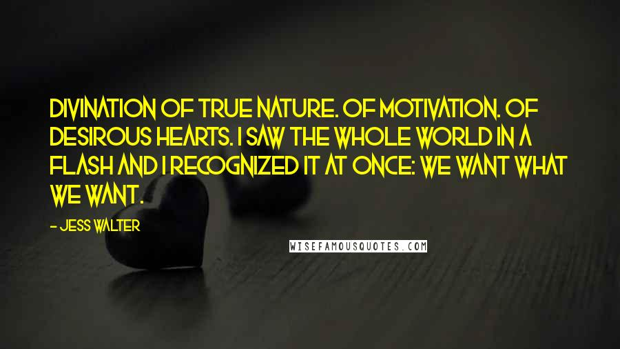 Jess Walter quotes: Divination of true nature. Of motivation. Of desirous hearts. I saw the whole world in a flash and I recognized it at once: We want what we want.