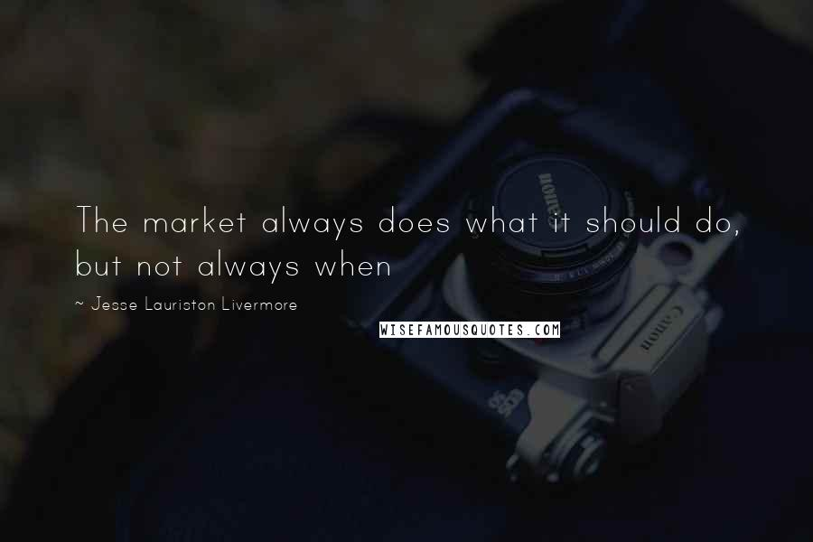 Jesse Lauriston Livermore quotes: The market always does what it should do, but not always when