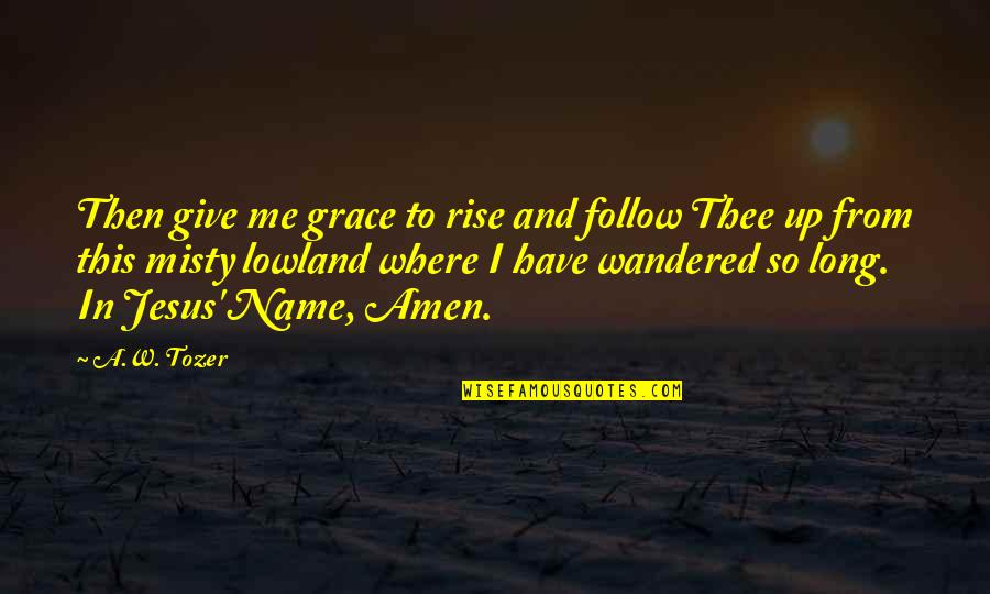 Jesus Grace Quotes By A.W. Tozer: Then give me grace to rise and follow
