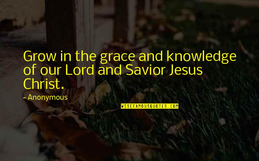 Jesus Grace Quotes By Anonymous: Grow in the grace and knowledge of our