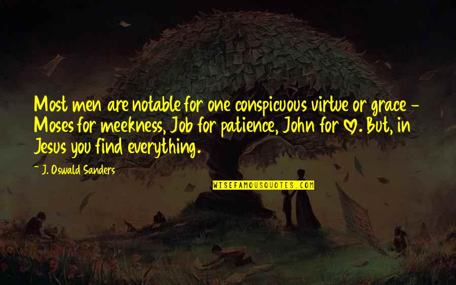 Jesus Grace Quotes By J. Oswald Sanders: Most men are notable for one conspicuous virtue