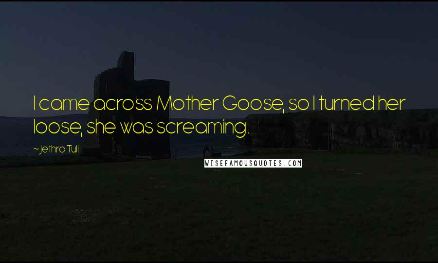 Jethro Tull quotes: I came across Mother Goose, so I turned her loose, she was screaming.
