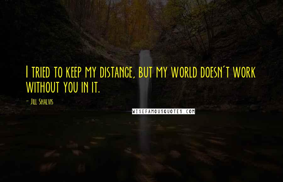 Jill Shalvis quotes: I tried to keep my distance, but my world doesn't work without you in it.
